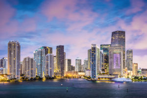 Skyline of Miami, Florida, USA at Brickell Key and Miami River.